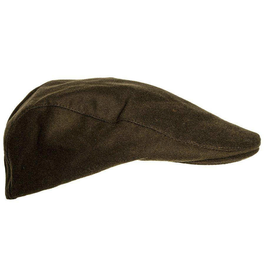 Waterproof Moleskin Flat Cap Traditional Country Hat Olive